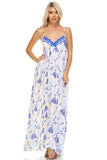 Marcelle Margaux Printed Tie-Back Maxi Dress w/Lace Trim -  - 2