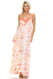 Marcelle Margaux Printed Tie-Back Maxi Dress w/Lace Trim -  - 6