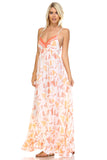 Marcelle Margaux Printed Tie-Back Maxi Dress w/Lace Trim -  - 7