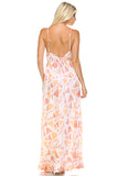 Marcelle Margaux Printed Tie-Back Maxi Dress w/Lace Trim -  - 8