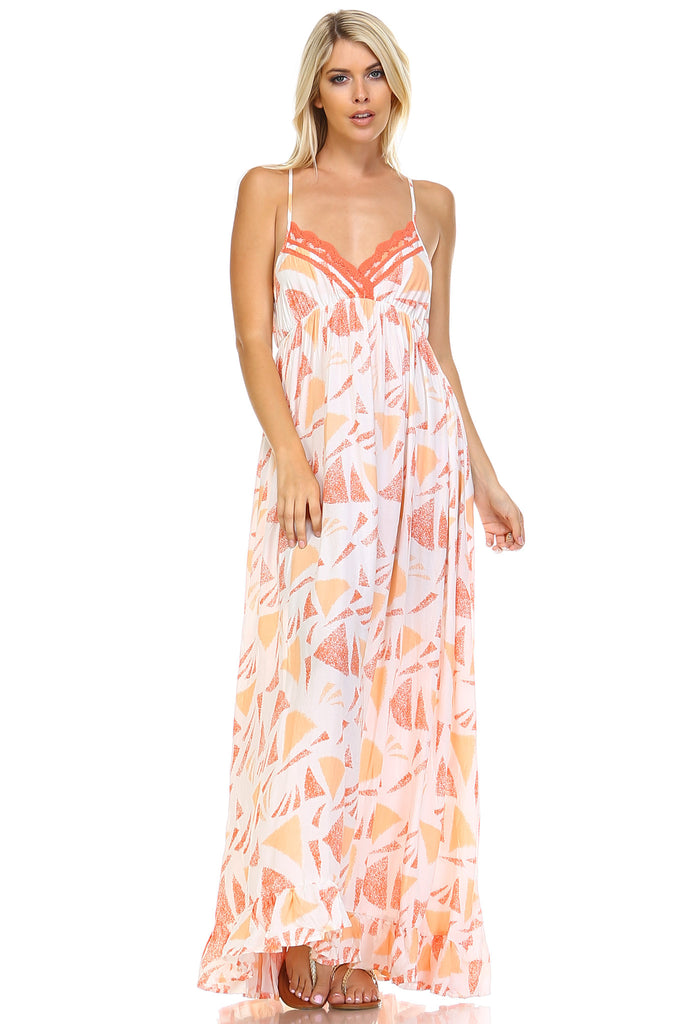 Marcelle Margaux Printed Tie-Back Maxi Dress w/Lace Trim -  - 5