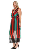 Christine V Plus Striped V-Neck Chiffon Maxi Dress -  - 7