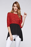Urban Love Knit to Woven 3/4 Sleeve Colorblock Shirt Dress - WholesaleClothingDeals
