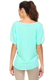 Women's Short Sleeve Lace Pocket Top