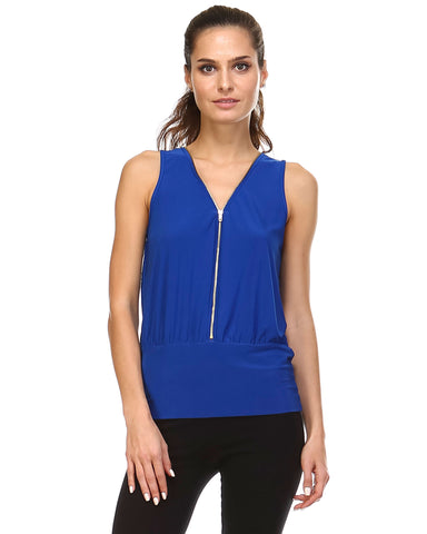 Christine V Zip-Up Sleeveless Top - WholesaleClothingDeals - 1