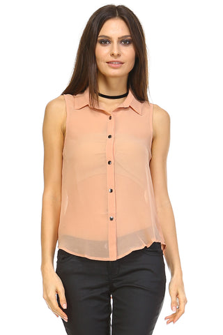 Marcelle Margaux Sleeveless Button Down Chiffon Collar Top - WholesaleClothingDeals - 1