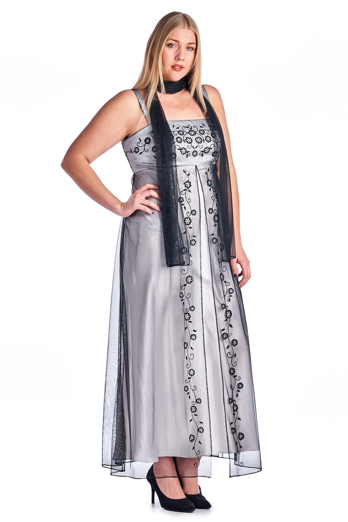 Ignite Floral Embroidered Evening Gown with Laced Shall - WholesaleClothingDeals - 1