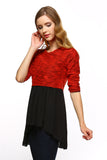 Women's Knit to Woven 3/4 Sleeve Colorblock Shirt Dress