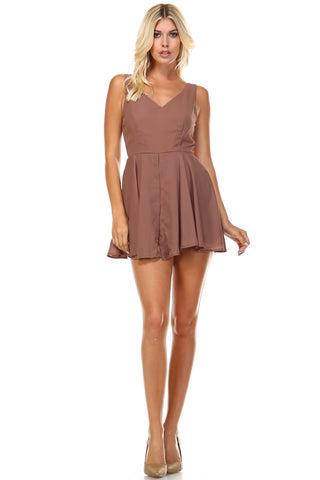Marcelle Margaux Sleeveless V-Neck A-Line Romper - WholesaleClothingDeals - 1