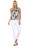 Marcelle Margaux Split Back V-Neck Sleeveless Printed Top - WholesaleClothingDeals - 1