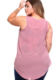 Women's Plus Size Sleeveless Button Pocket Top
