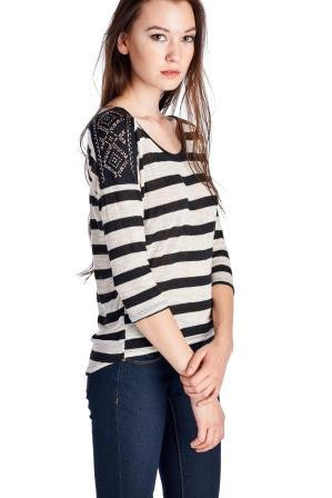 Christine V 3/4 Sleeve Stripe Top with Shoulder Trim - WholesaleClothingDeals - 1