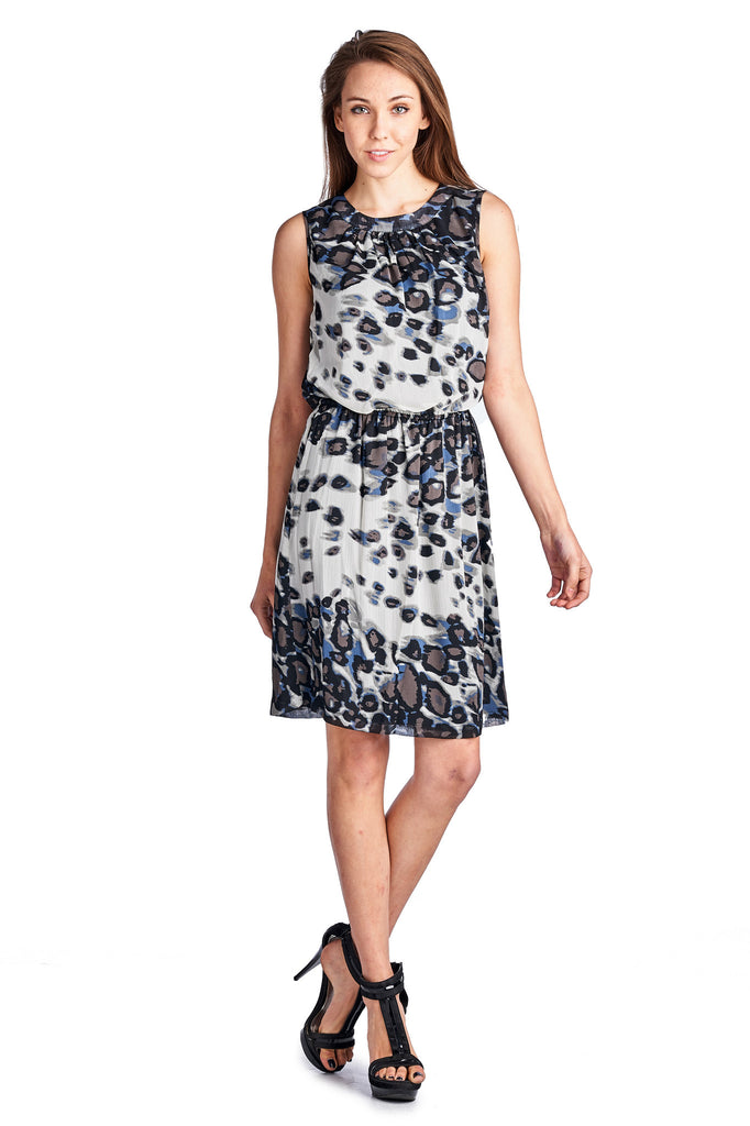 Sharagano Leopard Printed Blouson Dress - WholesaleClothingDeals - 1