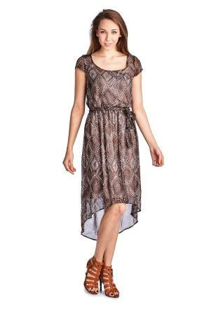 Sharagano Printed Chiffon High Low Dress - WholesaleClothingDeals - 1