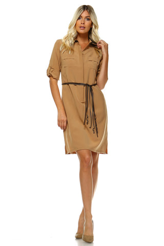 Women's Belted Shirt Dress with Leather Collar