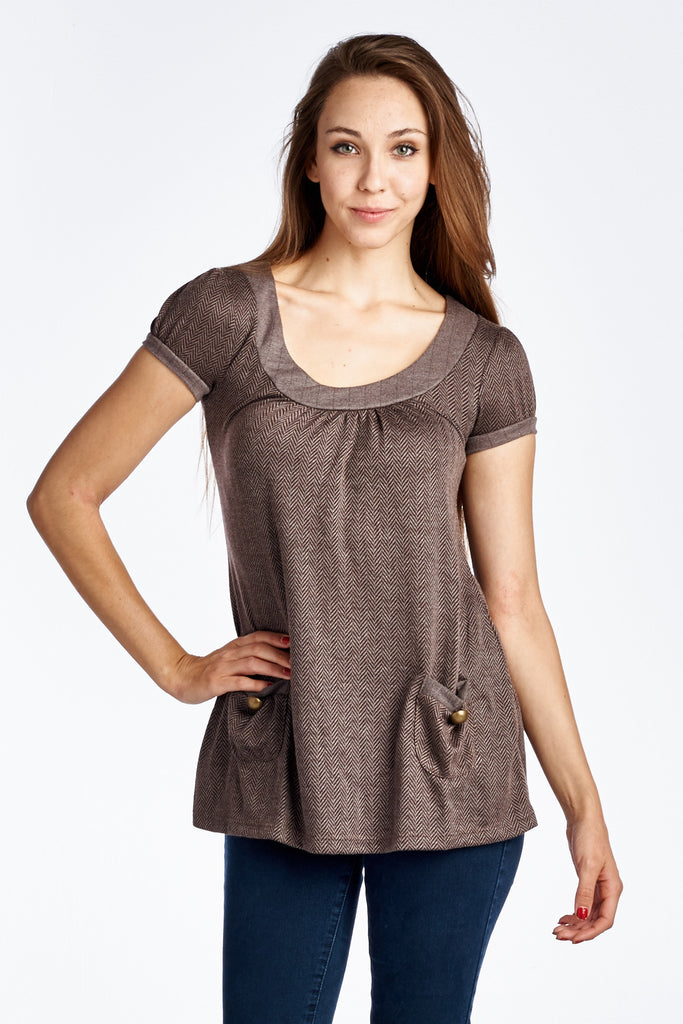 Coolwear Bell Sleeve Tunic with Front Pocket Detail - WholesaleClothingDeals - 1