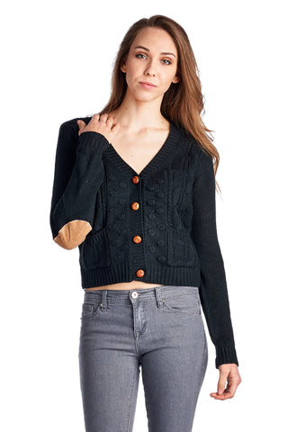 Urban Love Cable Knit Button Down Cardigan - WholesaleClothingDeals - 1