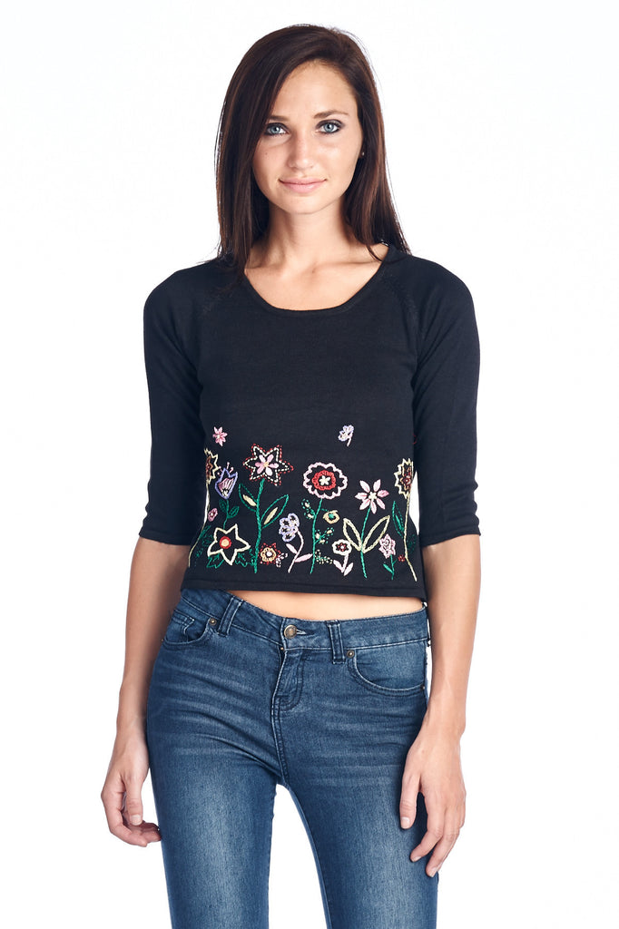 Bonnie & Bill Floral Embroidered Tie-Back Crop Sweater - WholesaleClothingDeals - 1