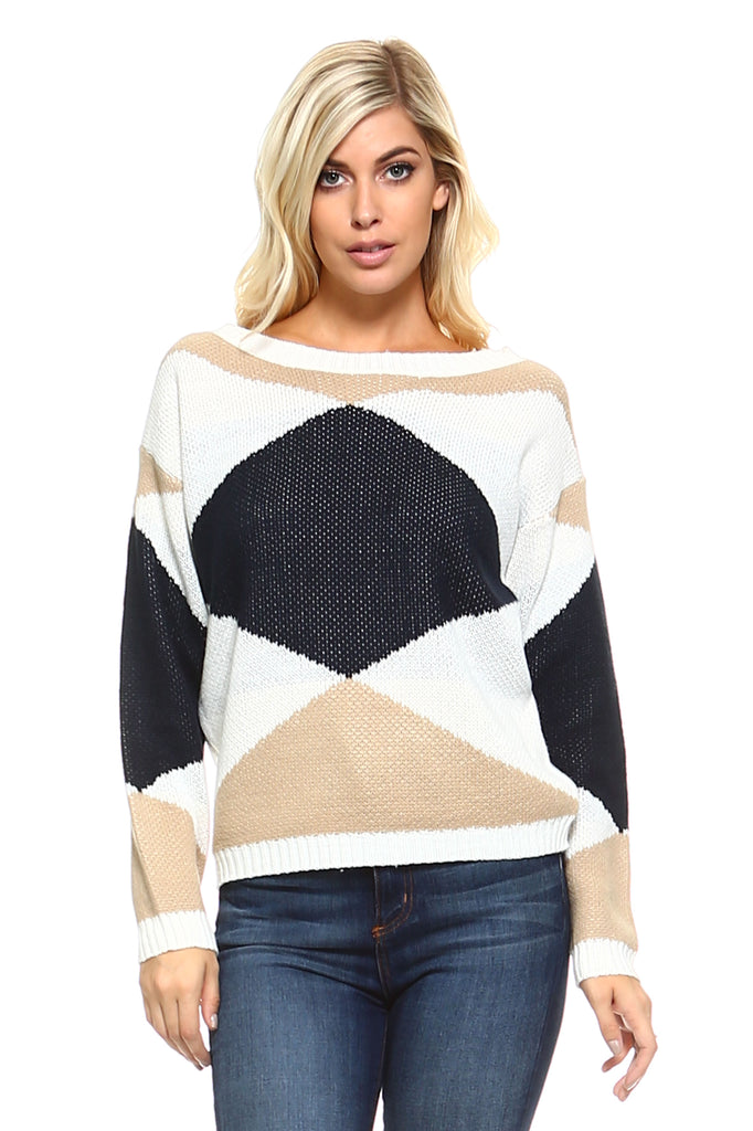 Women's Knit Long Sleeved Sweater with Geometric Print