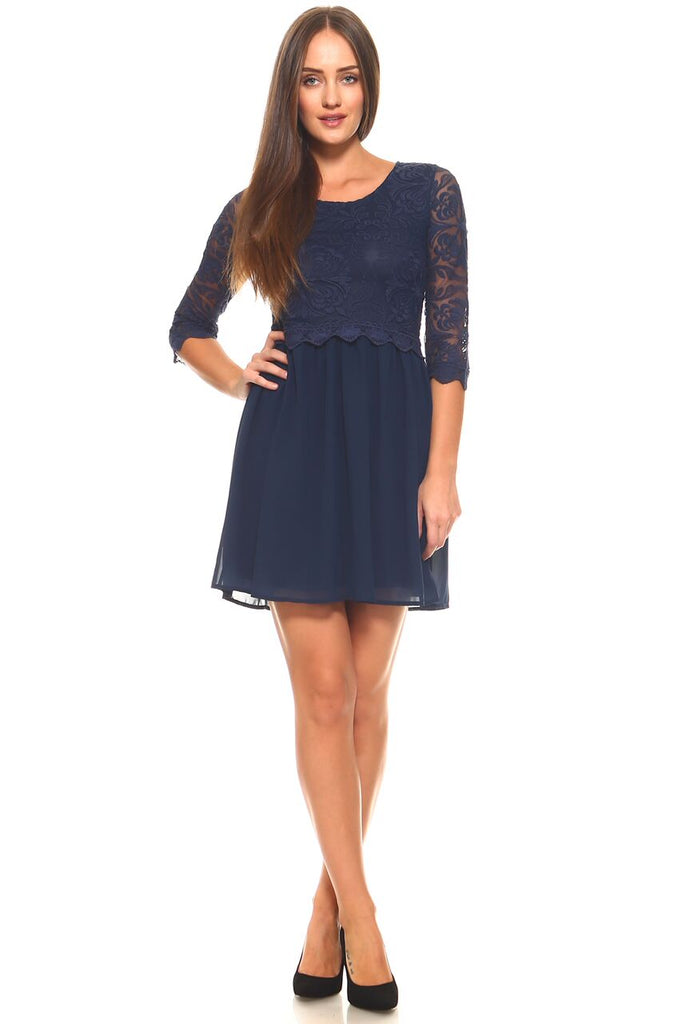 Women's 3/4 Three Quarter Sleeved Lace Bodice Dress