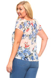 Women's Plus Size Printed Floral Elastic Tassel Top