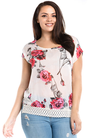 Women's Plus Size Floral Print Crochet Trim Top