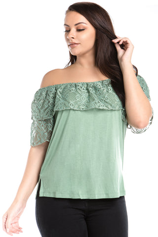 Women's Plus Size Off Shoulder Lace Layer Top