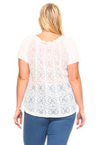 Women's Plus Size Lace Front Tie Top