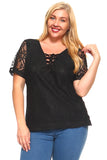 Women's Plus Size Lace Criss Cross Tie Top