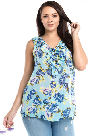 Women's Plus Size Sleeveless Floral Layered Tie Top