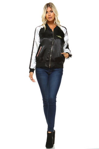 Women's Stripe Bomber Jacket