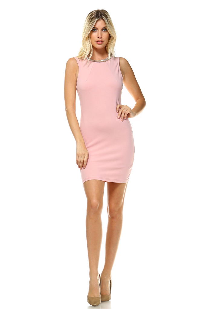 Women's Beaded Neckline Fitted Dress with Back Cut Out Detail