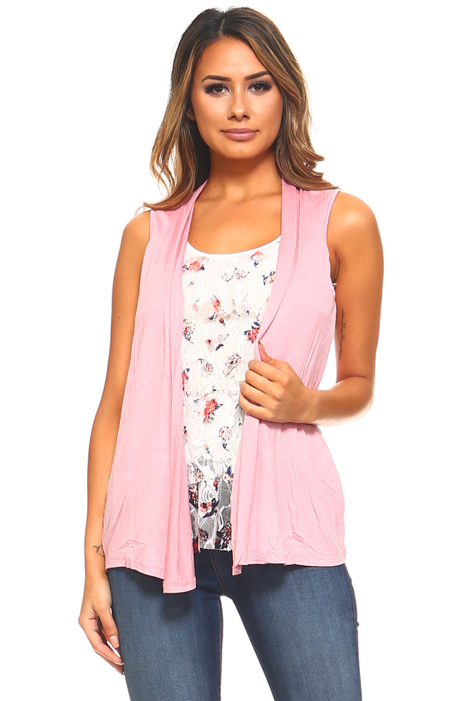 Women's Layered Lace Floral Top with Attached Vest
