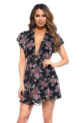 Women's Floral Printed Wrap Dress