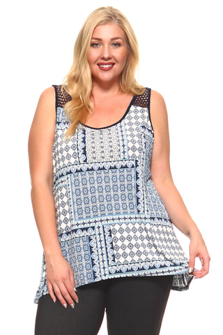Women's Plus Size Multi Print Mesh Sleeveless Top