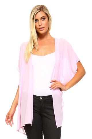 Women's Sheer T-shirt Cardigan with Back Detail