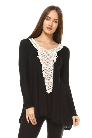 Women's Long Sleeve Boho Top with Crochet Detail