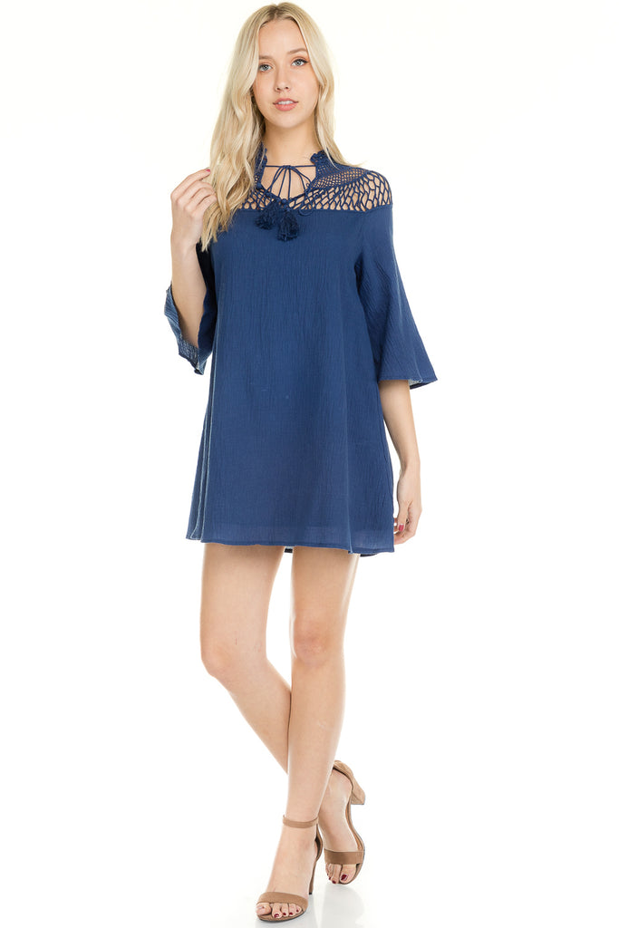 Women's Bell Sleeve Crochet Shoulder Tie Dress