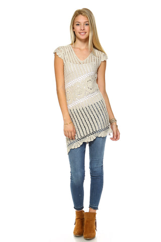 Women's BOHO Crochet Cover Up Tunic