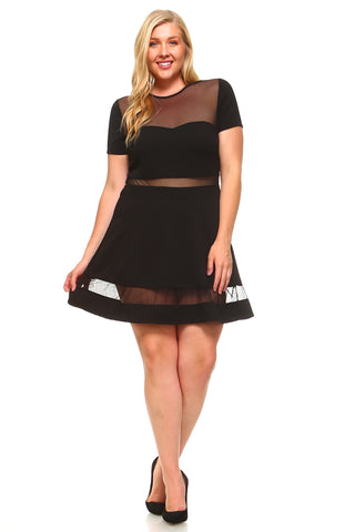 Women's Plus Size Sheer A-Line Dress