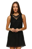 Women's Lace Detail Dress with Strap Cut Out