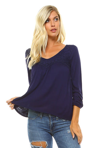 Women's 3/4 Three Quarter Sleeve Lace V-Neck Top