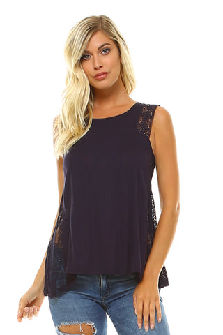 Women's Sleeveless Lace Detail Top