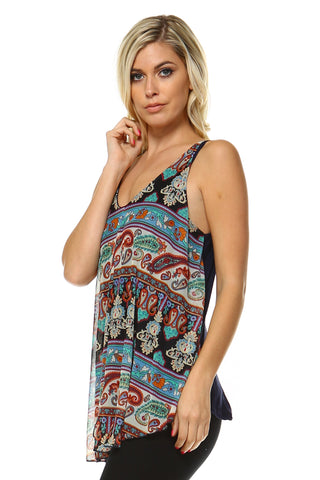 Women's Printed Sleeveless V-Neck Top with Necklace