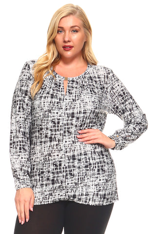 Women's Plus Size Long Sleeved Printed Tunic With Keyhole Front And Gold Clasp