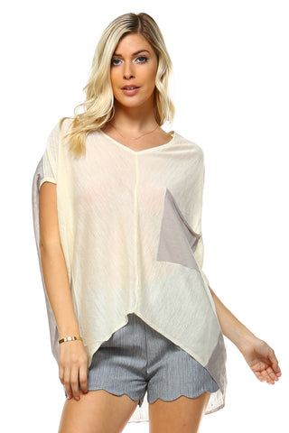 Women's V-Neck Hi-Low Oversize Top