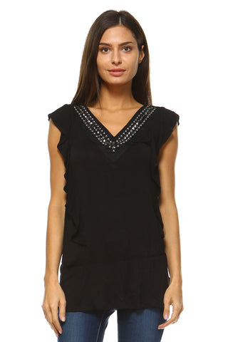 Women's V-Neck Stud Detail Top