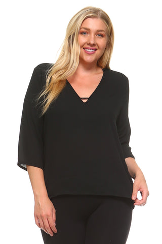Women's Plus Size 3/4 Three Quarter V-Neck Blouse