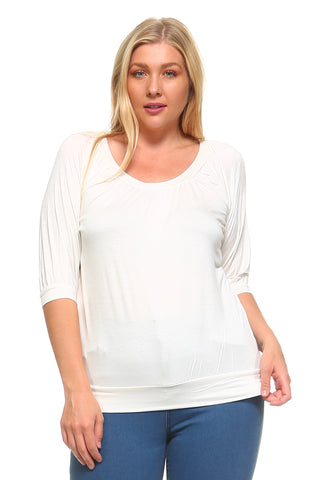 Women's Plus Size 3/4 Three Quarter Elastic Scoop Top