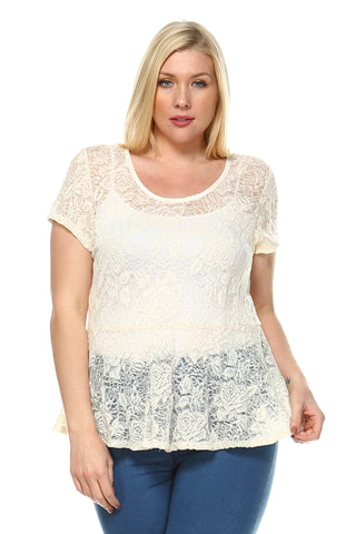 Women's Plus Round Neck Lace Top